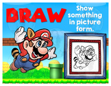 Math Terms & Definitions Fun SUPER MARIO Video Game Themed Poster - DRAW