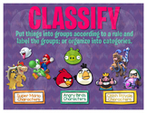 Math Terms & Definitions Fun Video Game Themed Poster - CLASSIFY