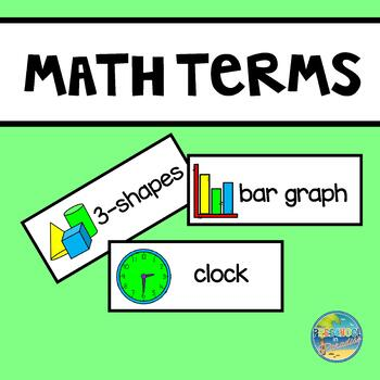 Math Terms Vocabulary Word Cards
