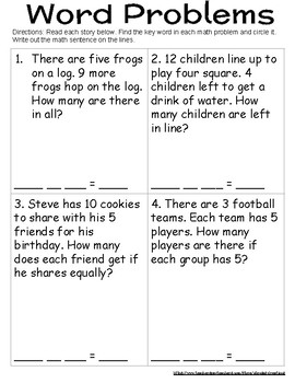 Math Terms for Signs and Word Problems