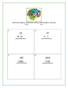 Math Test, 3rd Grade