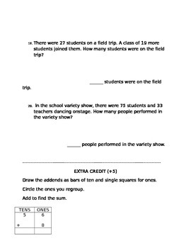 Math Test - Adding double digit numbers