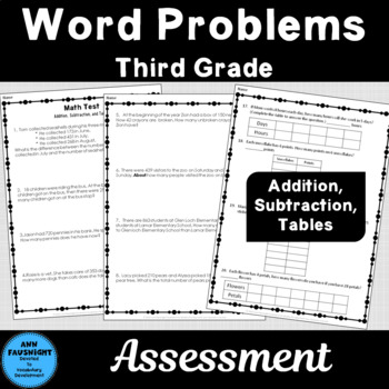 Word Problem Assessment Addition, Subtraction, Tables 20 Word Problems