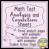 Math Test Analysis and Correction Sheets