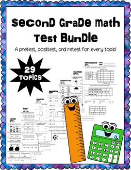 math pretest, posttest, and retest bundle