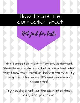 Math Test Correction Form