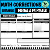 Math Test Correction Form (Digital and Printable)