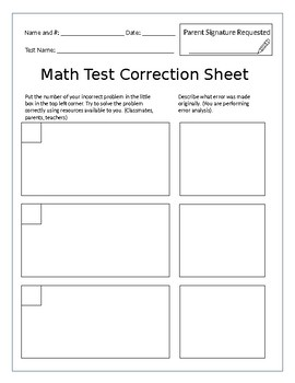 Math Test Correction Sheet/Error Analysis