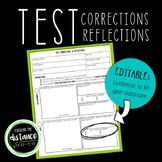 Math Test Correction and Reflection Form