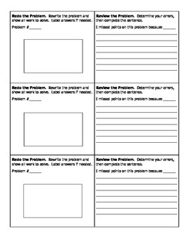 Math Test Corrections Form