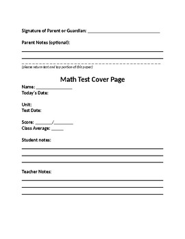 Math Test Cover Page
