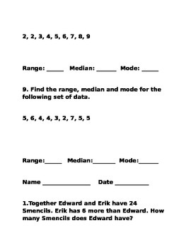 Math Test with Word Problems:Elapsed Time,Estimation,Mode, Median, Range, Money