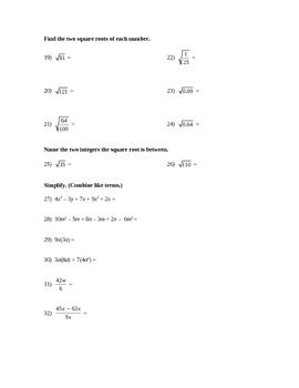 Math Test - Exponents, Radicals & Scientific Notation