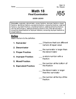 Math Test (Fractions)