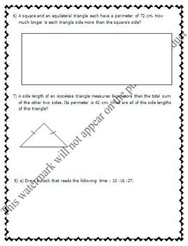 Math Test - Measurement (Conversions, Perimeter, Area, Polygons) - EDITABLE