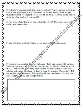 Math Test - Numeration, Addition, Subtraction & Word Problems - EDITABLE