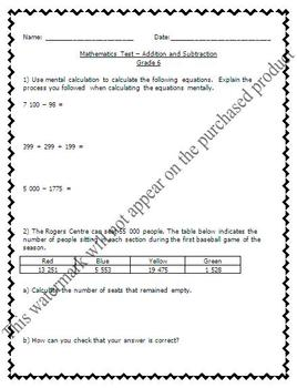 Math Test - Numeration, Addition, Subtraction & Word Probl