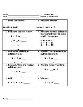 Math Test - Number sentences