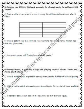 Math Test - Patterning (patterns, t-charts, variables) - EDITABLE