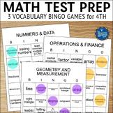 Math Test Prep 4th Grade Vocabulary Bingo