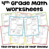 Math Test Prep 4th Grade Review Worksheets | Digital & Printable