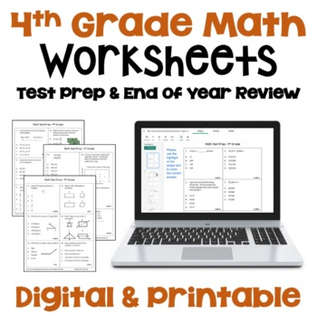4th Grade Math Test Prep Worksheets (Multiple Choice with