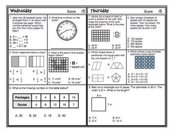 Math Test Prep (3rd Grade) 6 Week Countdown