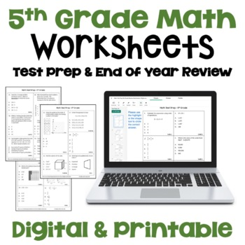 End Of Year Review 5th Grade Math Worksheets By Sheila Cantonwine