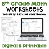 Math Test Prep 5th Grade Review Worksheets | Digital & Printable