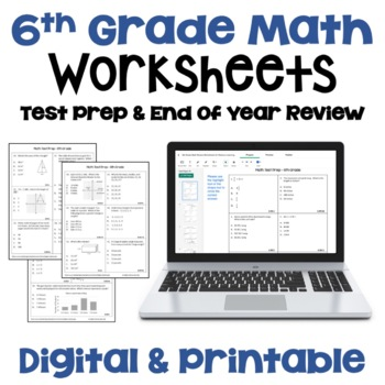 Versatile image in 6th grade math tests printable
