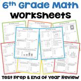 Math Test Prep 6th Grade Review Worksheets | Digital and Printable
