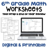 Math Test Prep 6th Grade Review Worksheets | Digital and P