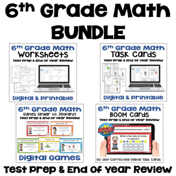 6th Grade Math Test Prep BUNDLE
