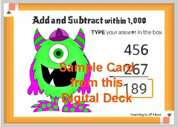 Math Test Prep ... ADD and SUBTRACT to 1000 ... Grade 3  Digital Paperless Cards