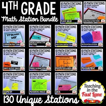 4th Grade Math Stations Bundle
