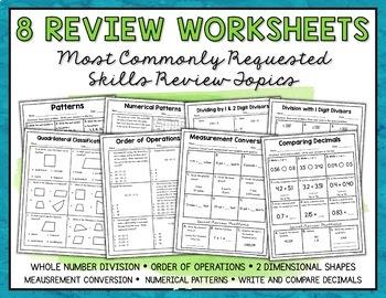 Math Test Prep Worksheets and Task Cards Bundle