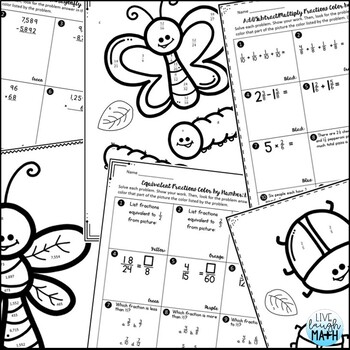 4th Grade Math Test Prep: Fourth Grade Math Review Color by Number Activities