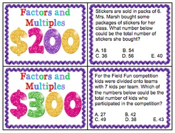 Math Test Prep Game Show 4th Grade Common Core:Operations and Algebraic Thinking