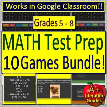 Test Prep Math Game Show Collection -  10 PowerPoint for Math Spiral Review CCSS
