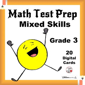 Math Test Prep ... Mixed CORE Skills ... Grade 3  Digital Paperless Cards