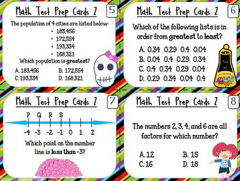 Math Review Test Prep Review Task Cards: Multiple Choice {Zombie themed}