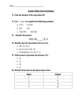 Math Test Prep Sheet #4