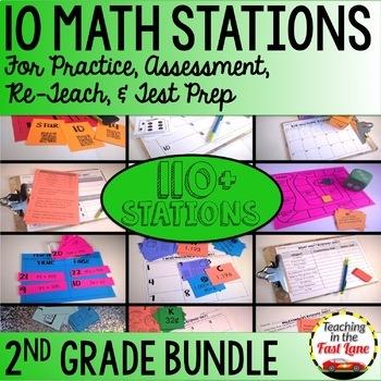 Math Test Prep Stations 2nd Grade BUNDLE