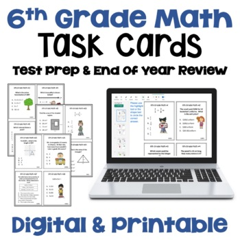 Math Test Prep 6th Grade Review Task Cards