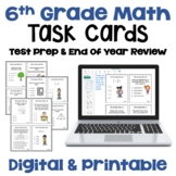 Math Test Prep 6th Grade Review Task Cards | Digital and P