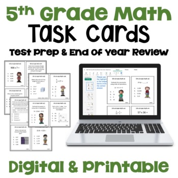 Math Test Prep and Review Task Cards for 5th Grade