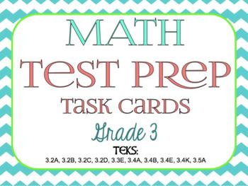 STAAR Math Test Prep Task Cards (GRADE 3)