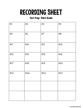 Math Test Prep Third Grade Task Cards