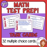 Math Test Prep and Review Task Cards 3rd Grade  + Self-Checking Easel Assessment
