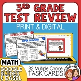 Math Test Prep and Review Task Cards 3rd Grade  + Self-Che